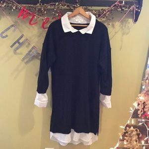 Ladies black sweater dress man tailored shirt